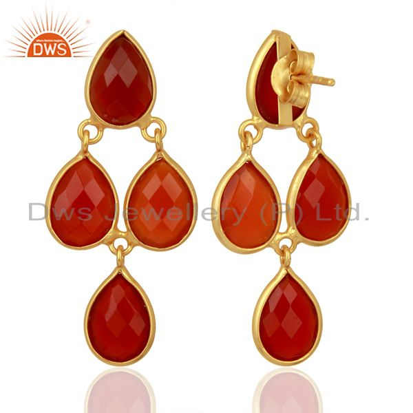 Exporter Red Onyx Dangle 18K Gold Plated 925 Sterling Silver Earrings Jewelry