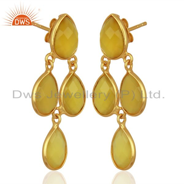 Exporter Yellow Chalcedony Dangle 18K Gold Plated 925 Sterling Silver Earrings Jewelry