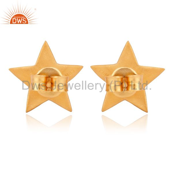 Wholesalers Solid Sterling Silver Yellow Gold Plated Flat Star Womens Stud Earrings