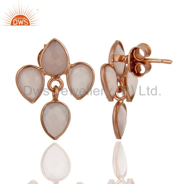 Exporter 18K Rose Gold Plated Sterling Silver Rose Chalcedony Drop Dangle Earrings