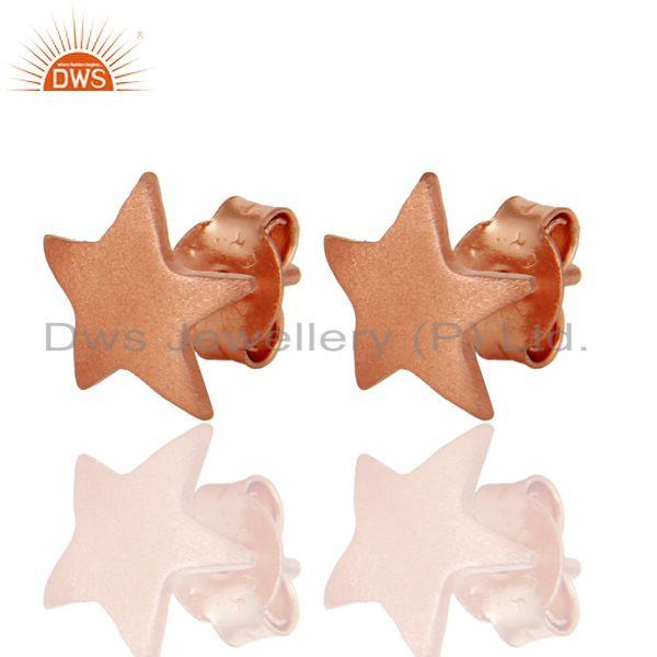 Exporter Star Shaped 925 Sterling Silver Rose Gold Plated Stud Earrings Jewelry