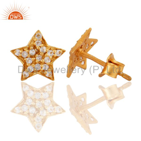 Exporter Solid Sterling Silver 18K Yellow Gold Plated White Topaz Star Stud Earring