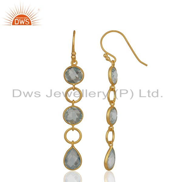 Exporter Blue Topaz Gemstone Gold Plated Round Circle Designer Earring Jewelry