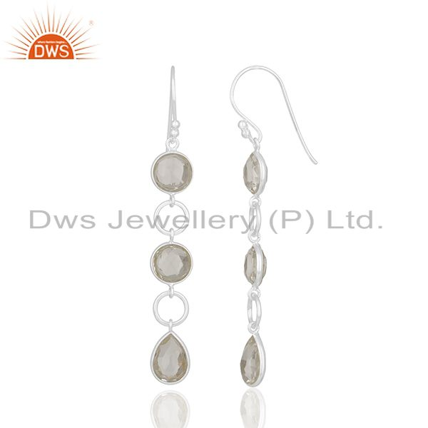 Exporter Solid 92.5 Sterling Silver Crystal Quartz Dangle Earring Manufacturers