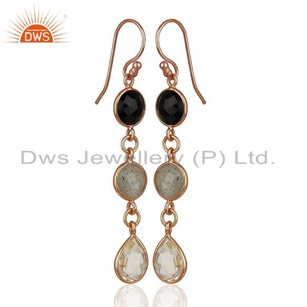 Exporter 18K Rose Gold Plated Silver Crystal Quartz And Labradorite Dangle Earrings