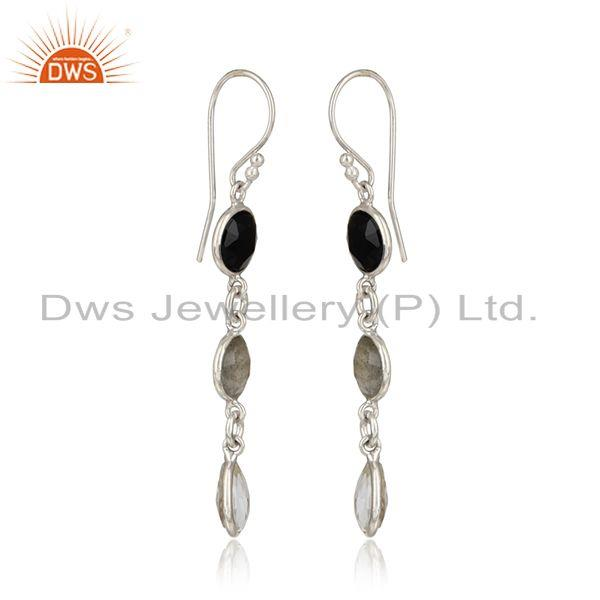 Long dangle in rhodium on silver crystal labradorite black onyx