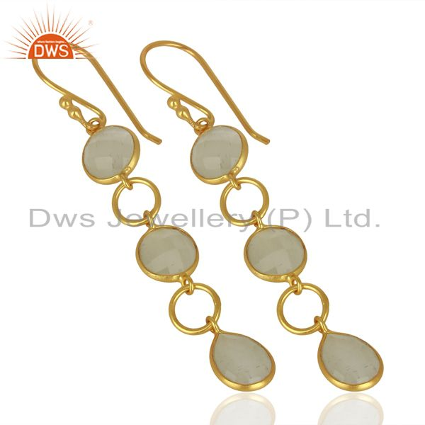 Exporter 18K Yellow Gold Plated Sterling Silver White Moonstone Circle Dangle Earrings
