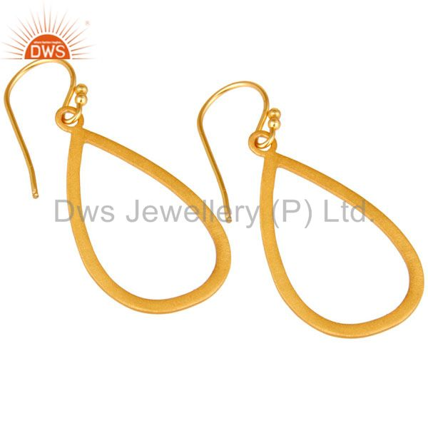 Wholesalers 18K Yellow Gold Plated Sterling Silver Cutout Drop Earrings