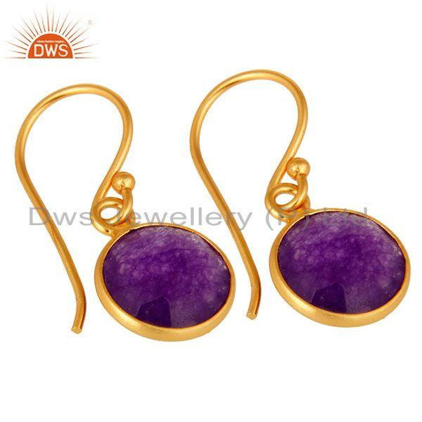 Wholesalers 18K Gold Over Sterling Silver Bezel-Set Purple Chalcedony Drop Hook Earrings