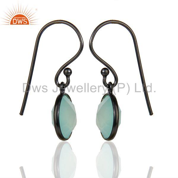 Exporter Black Rhodium Plated 925 Silver Aqua Chalcedony Gemstone Earrings