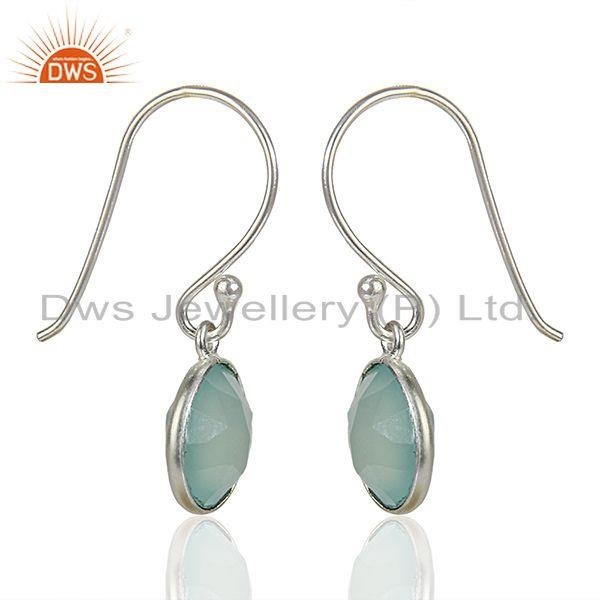Exporter Handmade Sterling Fine Silver Aqua Chalcedony Gemstone Earrings