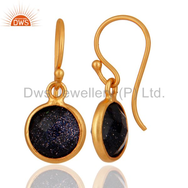 Exporter 18K Yellow Gold Plated Sterling Silver Blue Sun Sitara Bezel Set Drop Earrings