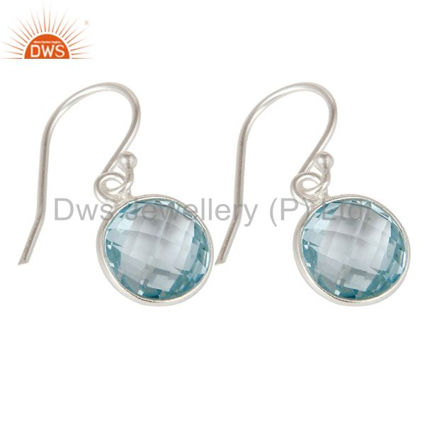 Wholesalers 925 Sterling Silver Blue Topaz Gemstone Bezel Set Dangle Earrings