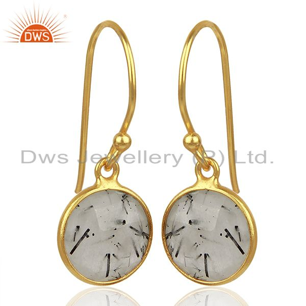 Exporter Black Rutile Gemstone Gold Plated Silver Earrings Jewelry Supplier