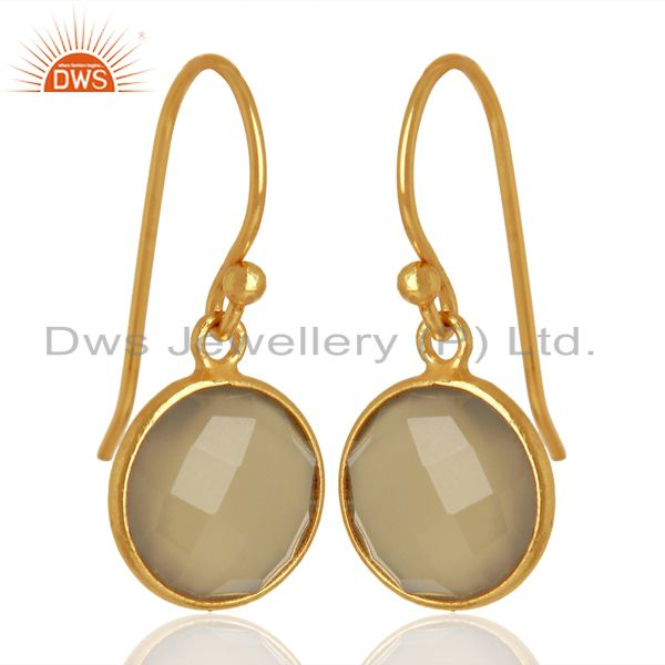 Exporter Gray Chalcedony Dangle Gold Plated 925 Sterling Silver Earrings Gemstone Jewelry