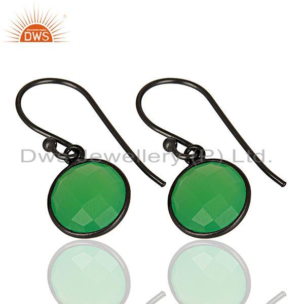 Exporter Green Chalcedony Round Faceted Drop Bezel Set Sterling Silver Earring Jewelllery