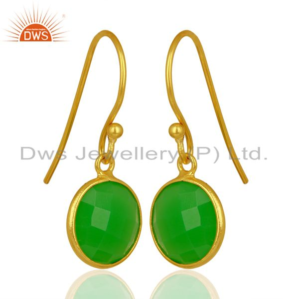 Exporter Green Chalcedony Round Faceted Drop Bezel Set Sterling Silver Earrings
