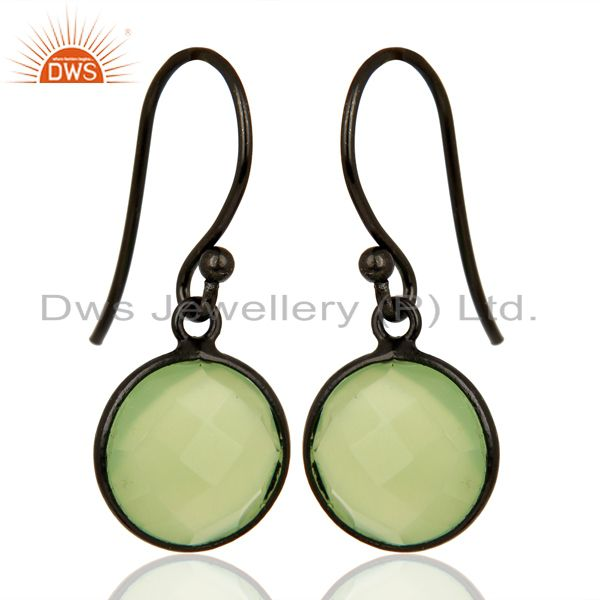 Exporter Prehnite Chalcedony Round Faceted Bezel Set 925 Sterling Silver Drop Earrings