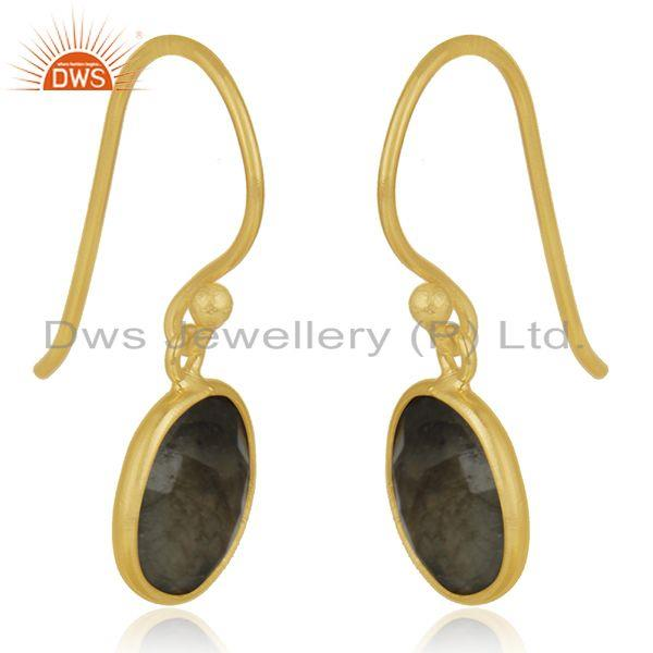 Exporter Gold Plated 925 Silver Labradorite Gemstone Earring Manufacturer of Jewelry