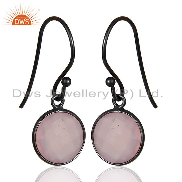 Exporter Rose Chalcedony Round Faceted Drop Bezel Set 925 Sterling Silver Earrings