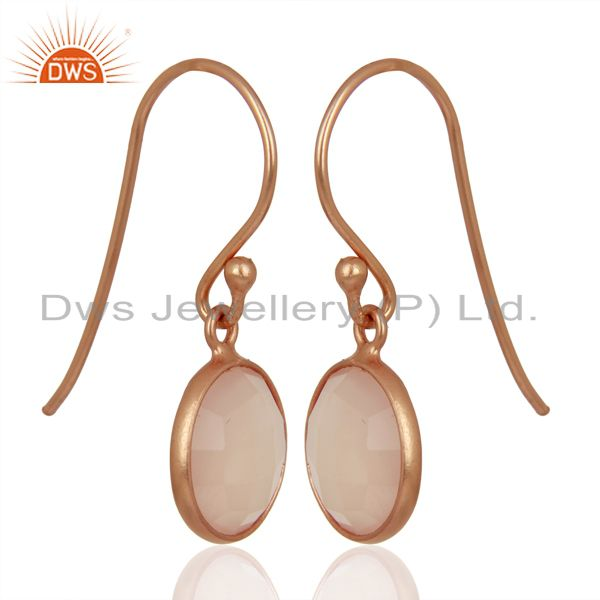 Exporter Rose Chalcedony Round Faceted Bezel Set 925 Sterling Silver Drop Earrings