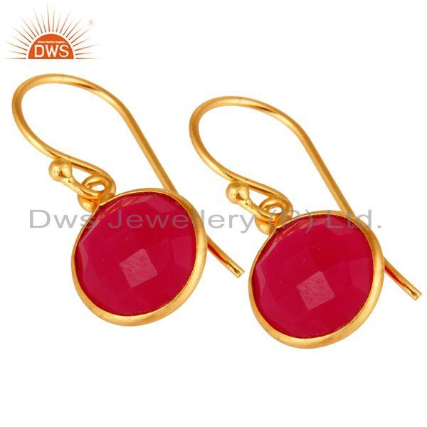 Wholesalers Dyed Pink Chalcedony Sterling Silver Bezel Set Drop Earrings - Gold Plated