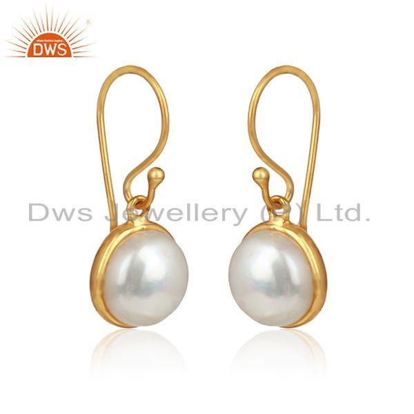 Natural round pearl gemstone designer gold plated silver earrings