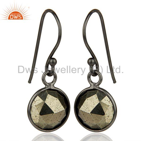 Exporter Pyrite Gemstone Rhodium Plated 925 Sterling Silver Earrings Supplier