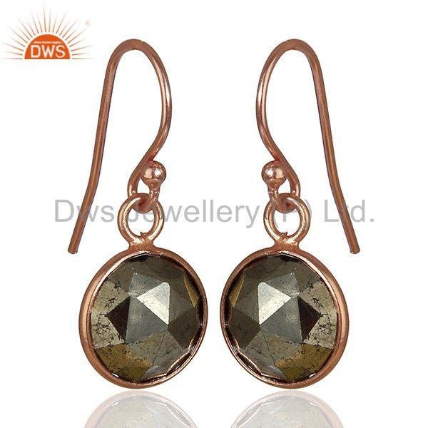 Exporter Rose Gold Plated 925 Silver Pyrite Gemstone Earrings Girls Jewelry