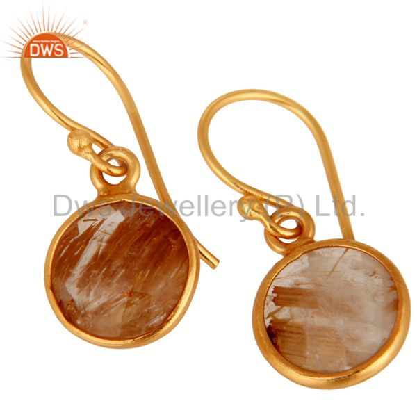Exporter 18K Yellow Gold Plated Sterling Silver Golden Rutilated Quartz Bezel Set Earring