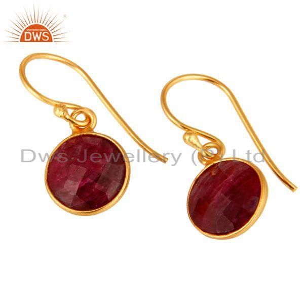 Wholesalers Faceted Red Ruby Corundum Bezel-Set Sterling Silver Earrings With Gold Plated