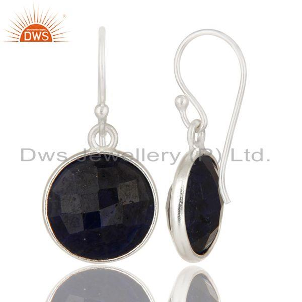 Suppliers Dyed Blue Sapphire Bezel-Set Sterling Silver Earrings