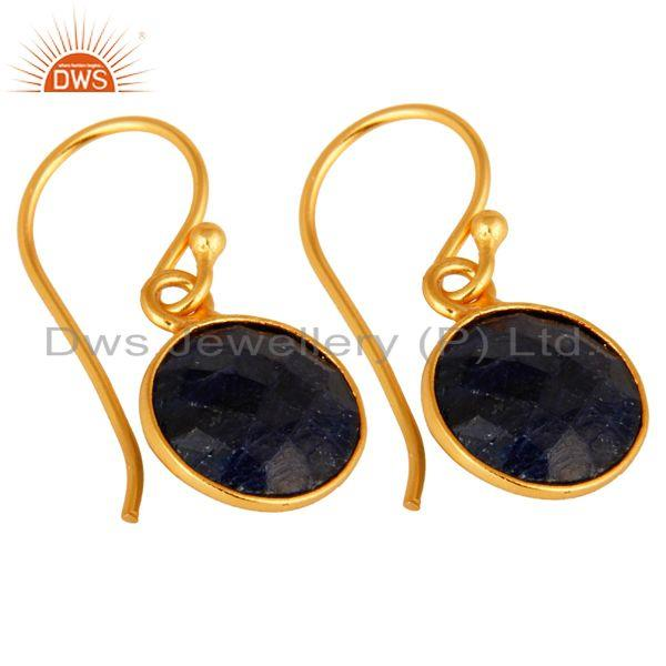 Wholesalers Dyed Blue Sapphire Gold Plated Sterling Silver Bezel Set Gemstone Earrings