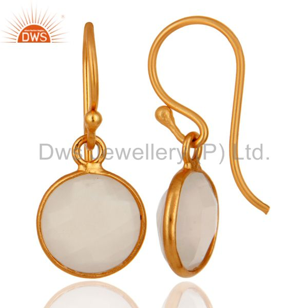 Exporter 18K Yellow Gold Plated Sterling Silver White Chalcedony Gemstone Hook Earrings