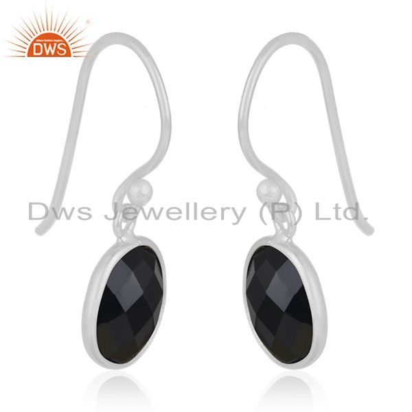 Exporter Black Onyx Gemstone 925 Sterling Fine Silver Earring Jewellery Manufacturer