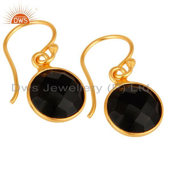Wholesalers Faceted Black Onyx Gemstone Sterling Silver Dangle Earrings With Gold Plated