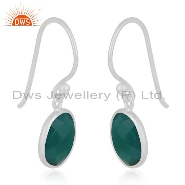 Exporter Handmade 925 Fine Silver Green Onyx Gemstone Drpo Earrings Wholesale Suppliers