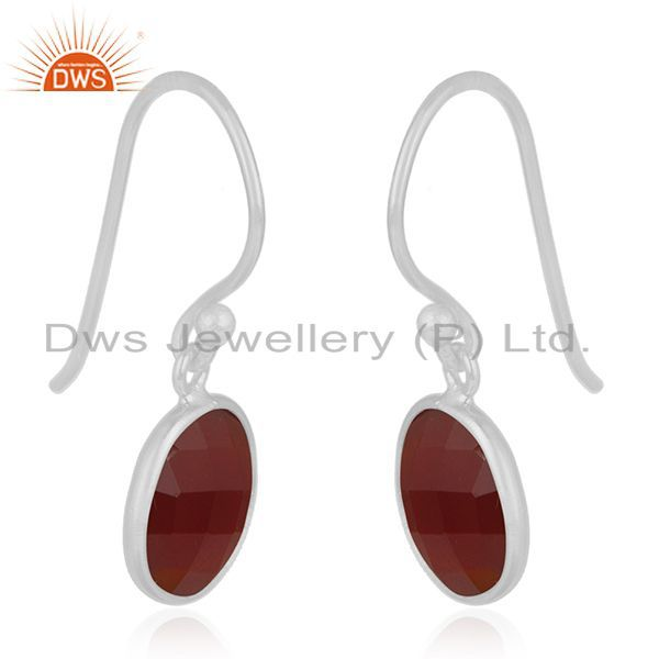 Exporter Red Onyx Gemstone 925 Sterling Silver Drop Earring Manufacturer India