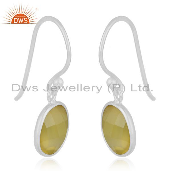 Exporter Yellow Chalcedony Gemstone 925 Sterling Silver Earring Jewelry Manufacturer