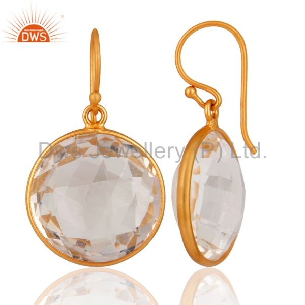 Exporter 925 Sterling Silver Natural Crystal Quartz Bezel Setting Earrings - Gold Plated