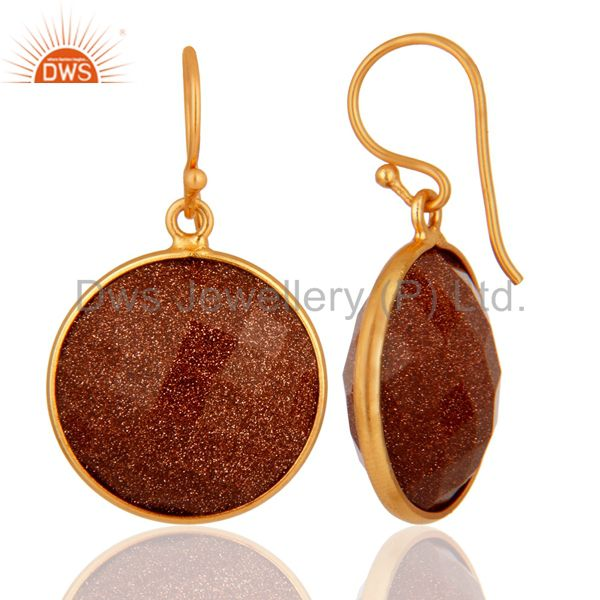 Exporter 18K Yellow Gold Plated Sterling Silver Faceted Red Sun Sitara Bezel Set Earrings