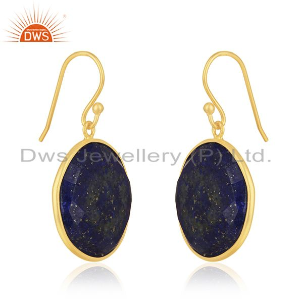 Exporter 18K Yellow Gold Plated Sterling Silver Faceted Lapis Lazuli Bezel Set Earrings