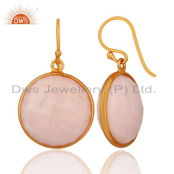 Suppliers 925 Sterling Silver Faceted Pink Opal Gemstone Dangle Earrings - Gold Plated
