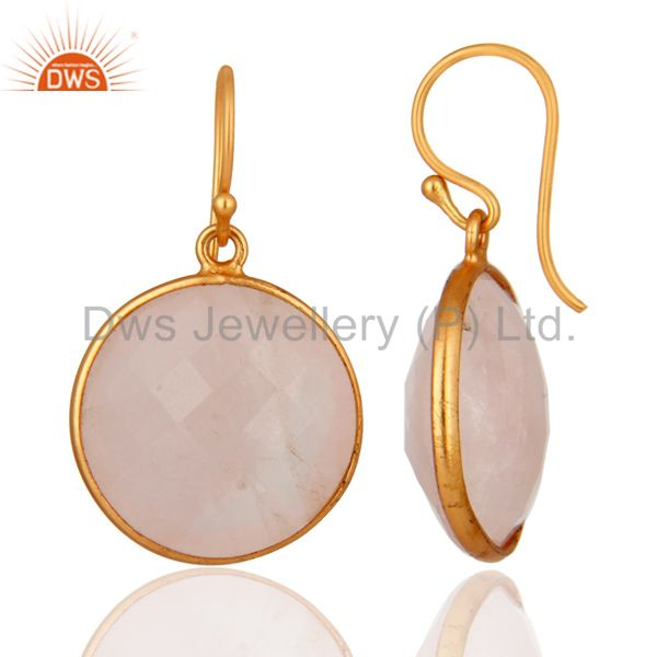 Suppliers Faceted Rose Quartz Gemstone Dangle Earrings In 18K Gold Over Sterling Silver