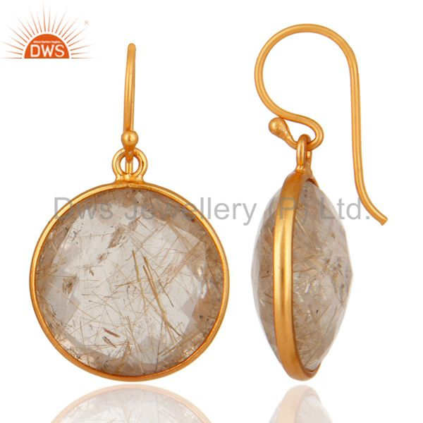 Exporter 18K Yellow Gold Plated Sterling Silver Faceted Rutile Quartz Bezel Set Earrings