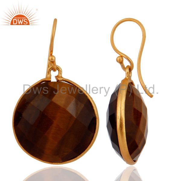 Exporter 18K Yellow Gold Plated Sterling Silver Faceted Tiger Eye Bezel Drop Earrings