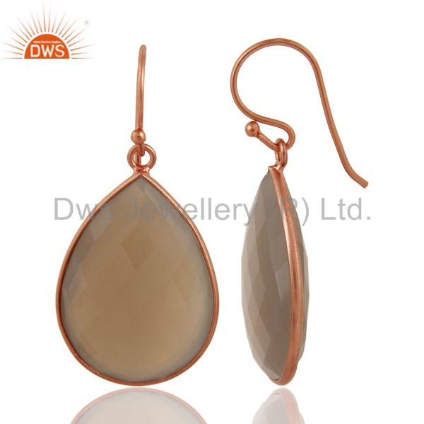 Exporter 18K Rose Gold Plated Sterling Silver Dyed Grey Chalcedony Bezel Set Drop Earring