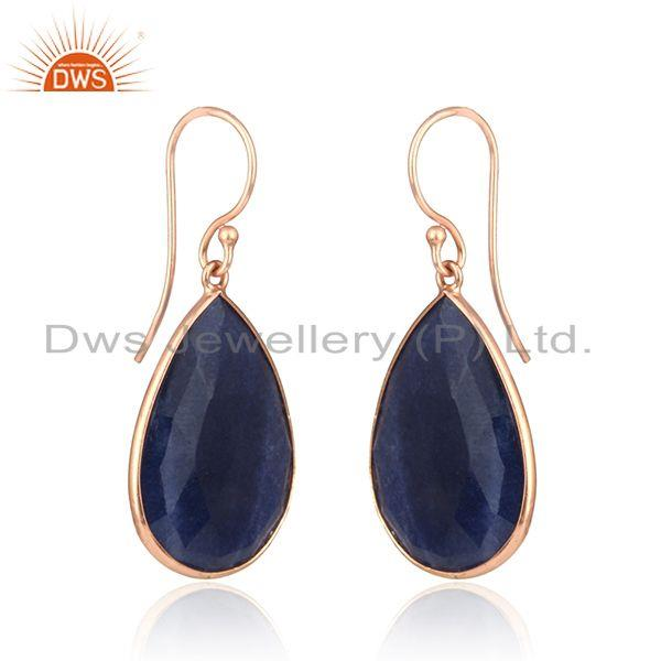 Exporter Dyed Sapphire Gemstone Rose Gold Plated 925 Silver Drop Earrings