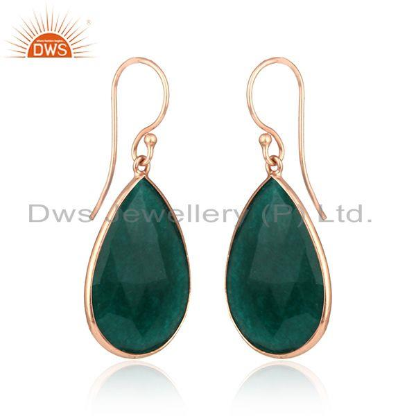 Exporter Pear Shape Dyed Emerald Rose Gold Plated Silver Tear Drop Earring