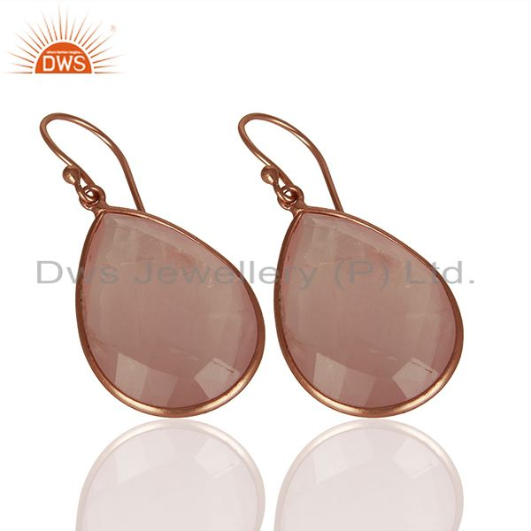 Exporter Rose Gold Plated 925 Silver Rose Quartz Gemstone Earrings Manufacturer